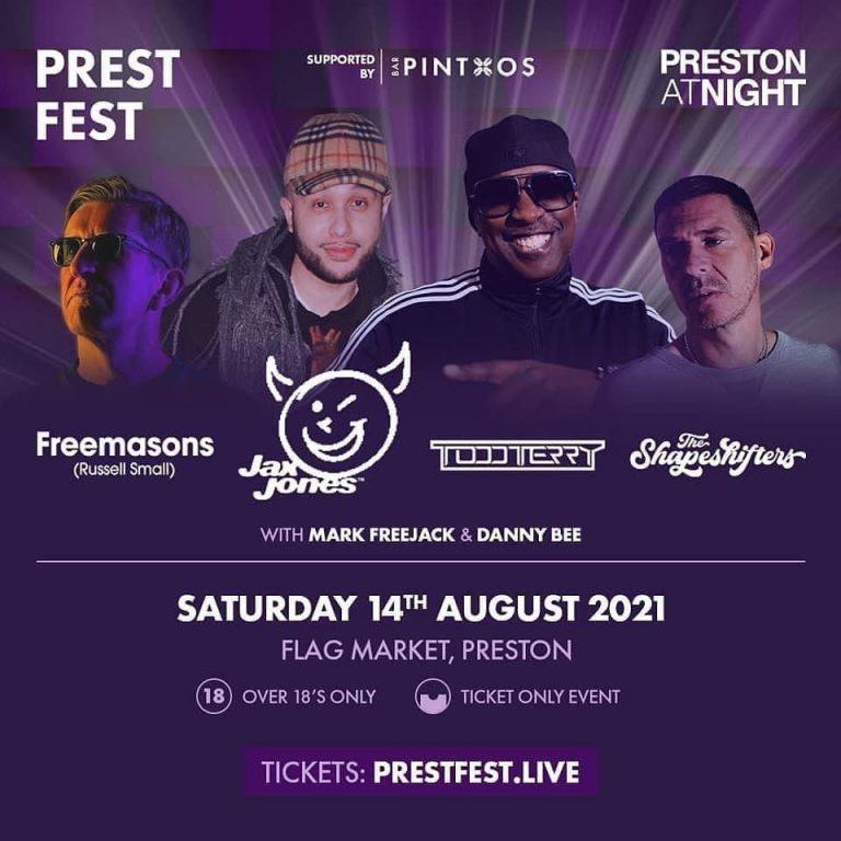 Prestfest flyer Freemasons Todd Terry Jax Jones Shapeshifters